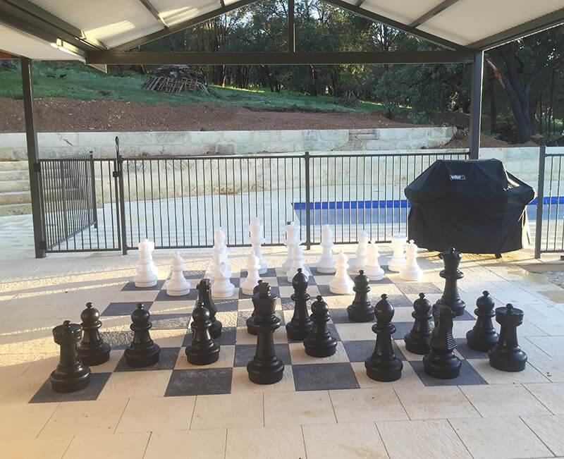 Large outdoor chessboard using Charocal and Sunny yellow pavers