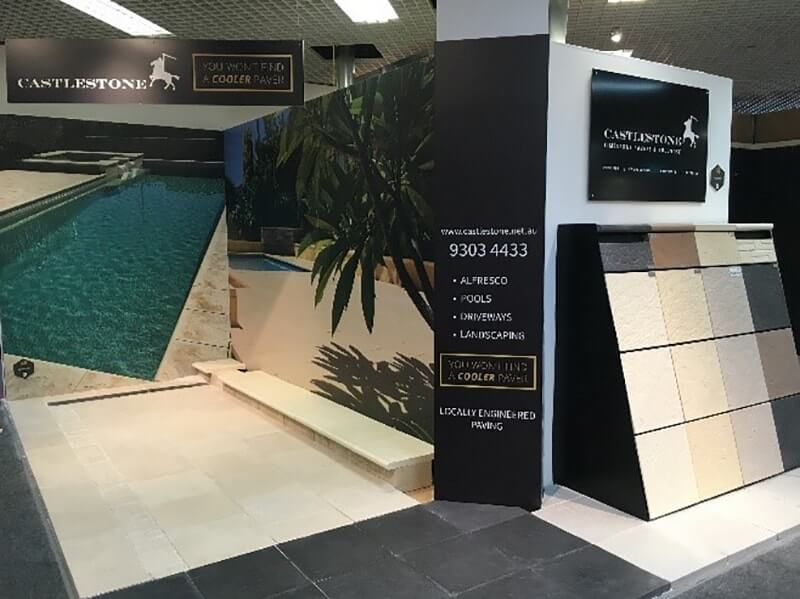 Castlestone paving and capping display at Home Base in Subiaco