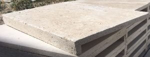 Travertine by Castlestone L Shaped Coping in Pearl colour